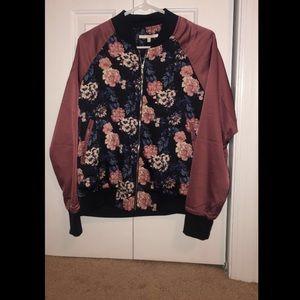 zip up floral silk jacket